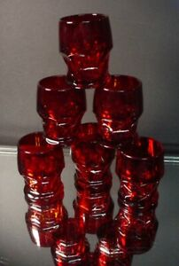 Viking Glass Set/6 Georgian Ruby Cordials or Shot Glasses Cambridge Mold Elegant