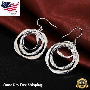 Boho earrings|Silver disc earrings|Silver 925 hook Silver circle earrings Geometric earrings Silver coin earrings Silver dangle earrings