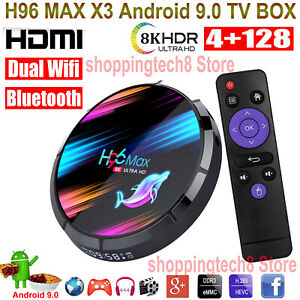 H96 MAX X3 4+128G Android 9.0 8K TV BOX Dual WLAN BT 64Bit H.265 3D Media Player