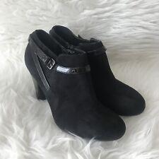 George les encanta sus Zapatos Botas Taco De Imitación De Gamuza Talla 6 Negro Hebilla de noche de fiesta