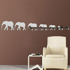 7pcs Elephant Wall Stickers Creative Mirror Wall Decal Home Room Decor #Cu3