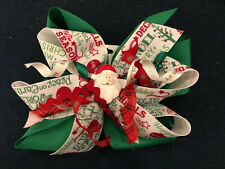 New Huge 6� Custom Boutique Stacked Hairbow Christmas Santa Happy Holiday Green