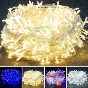 Fairy String Lights 10-1000LED Xmas Tree Garden Wedding UK Plug In/Battery/Solar