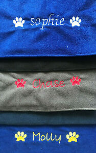 DOG MICROFIBRE TOWEL - PERSONALISED - NAME / PAWS - CHOOSE SIZE