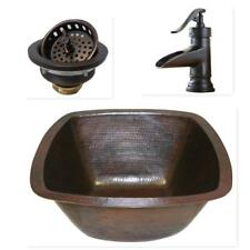 "17"" Square Copper Bar Prep Sink with 3.5"" Drain and Orb Faucet"