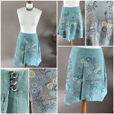 stunning embroidered floral skirt by ted baker sz 1 linen