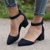 Blockabsatz Sandaletten Damen Mittelhoher Sandalen Spangenpump Sommer Schuhe 39
