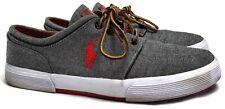 Polo Ralph Lauren Men's Gray Brow Red Logo Faxon Low-Cut Sneakers Shoes 10.5 D