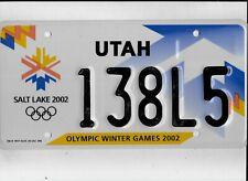 "UTAH 2002 license plate ""138L5"" ***SALT LAKE CITY OLYMPICS****MINT***"