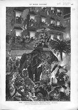 Carnevale di Roma Romano Italia Elephant Carnival GRAVURE ANTIQUE PRINT 1874