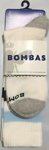 NWT MEN'S BOMBAS ORIGINALS CALF WHITE/GREY/BLUE LARGE (9.5-13) SOCKS
