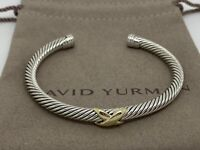 David Yurman Sterling Silver & 14k Gold 5mm X Cuff Bangle Bracelet Size 6 Inch