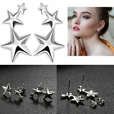 Womens 925 Sterling Silver 3 Stars Star Ear Stud Climber Earrings Ladies Jewelry