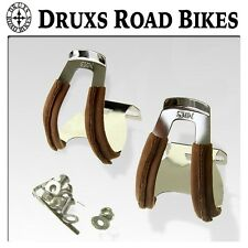MKS HALBE PEDALHAKEN HALF CLIPS PEDAL TOE CLIP LEDER LEATHER BROWN BRAUN STEEL