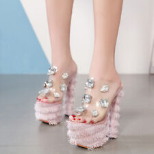 New Faux Ostrich Fur Block High Platform Transparent Rubber Rhinestone Sandals