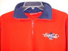 Vintage Coca Cola Brand 1886 Embroidered 1/4 Zip Fleece Jacket Pullover Sz S