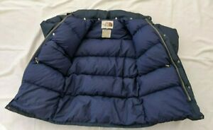 Vintage 70s The NORTH FACE Puffer Down Parka JACKET Brown Label BLUE Mens Small