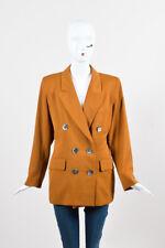 VINTAGE Yves Saint Laurent Rive Gauche Camel Wool Double Breasted Jacket SZ 44