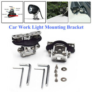 2x Stainless Steel Car Clamp Mount Bracket Holder For SUV Offroad LED Work Light