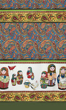 "1 pc Kitchen Towel w/ Nesting Doll Matryoshka 100% Cotton 18x23"" Made in Russia"