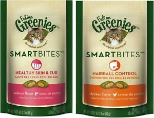 Feline Greenies Smartbites Healthy Sking and Fur Treats for Cats 2.1 oz