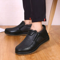 Men Winter Genuine Leather Shoes Casual Shoes Formal Dress Loafers Plush Shoes