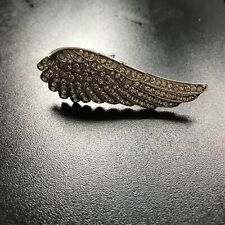 NEW LARGE 3.5 inch VINTAGE ANGEL WING BROOCH WITH RHINESTONES