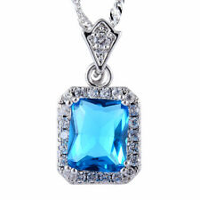 Pendant Emerald Cut Aquamarine 18K White Gold Plated Free Necklace Chain