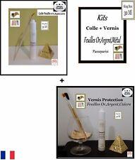 Kits Mixtion+Vernis feuille d'or,d'argent,Métal King Size 30Ml
