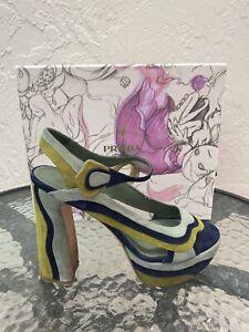 Authentic Prada Fairy Collection Wavy Suede Platform Sandals Sz 39 With Box