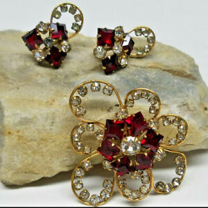 Vintage Red & White Stone Crystal Brooch Pin & Earrings 3 Piece Matching Set