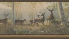 Deer In The Woods Border 92871Fp wallpaper green brown tan washable prepasted