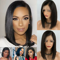 Peruvian Human Hair Wig Pre Plucked Short Straight Bob Hairstyle Lace Front Wigs