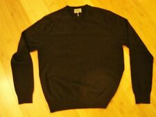 Qi cashmere black V neck pullover long sleeves sweater L