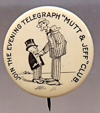 c. 1910 MUTT & JEFF EVENING TELEGRAPH CLUB newspaper celluloid pinback button *