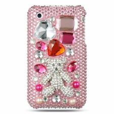 For Apple iPhone 3G/3GS Pink White Bear Hard Bling Case Cover