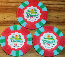 Lot 3 $5 THE DUNES Casino Poker Commemorative Chips House Mold Las Vegas NV