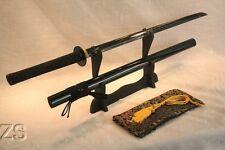 BLACK STEEL BLADE Hand Forged Japanese Ninjato Sword Enzo Tsuba Chokuto Blade