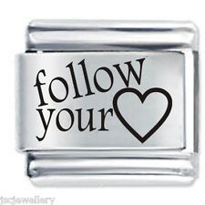 FOLLOW YOUR HEART et Daisy Charm JSC Fits Classic Size Italian Charms Bracelet