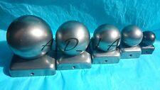 """40mmx40mm (1,6 """") non traitée / bare metal square fence post / garde-corps cap top avec boule"""