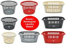PLASTIC LAUNDRY BASKET - HIGH QUALITY - ROUND/RECTANGULAR - 5 COLOURS -WASHING