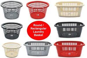 PLASTIC LAUNDRY BASKET - HIGH QUALITY - ROUND/RECTANGULAR - 5 COLOURS -WASHING
