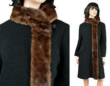 Vintage Princess Coat Sz M 60s Long Black Wool Brown Mink Trim Winter Jacket