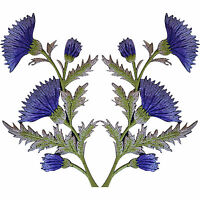 Pair of Purple Lavender Thistle Flower Patches Iron Sew On Flowers Patch Badge