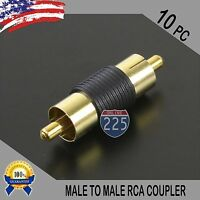 10 Pcs Bag Male To Male RCA Couplers BLACK w/Gold Plated Connector PACK Lot US