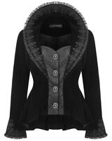 Dark In Love Womens Gothic Jacket Black Velvet Brocade Lace Steampunk Victorian