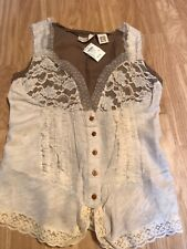 CHARLOTTE RUSSE Cream Ivory Brown Floaty Lacey Sleeveless Top Size M Medium BNWT