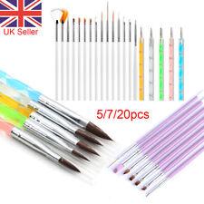 Nail Art Acrylic Brushes Painting Pen UV Gel Brush White Liner Brush 5//7/20pcs