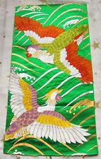 Vintage Japanese Kimono Wedding Obi Silk Fabric Piece Birds Ducks Golden Waves