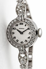 Antique 1940s $6000 MOVADO 1.50ct VS G Diamond 14k White Gold Watch WTY